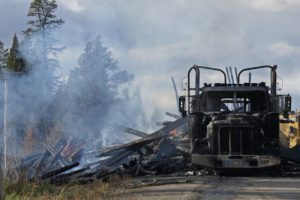 Big truck that burned on side of road after accident