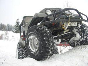 off-road truck stuck at snow